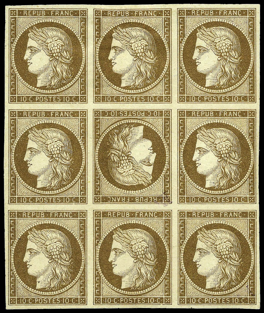 France-1849-10c-Bister-on-Yellowish-Tete-Beche-Yvert-1d-Rare-Block-of-Nine-of-the-10-centimes-Ceres-issue-of-France-with-the-center-stamp-arranged-tet-1024-postbit-1769